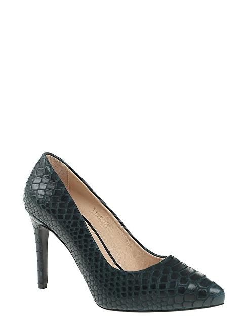 D by Divarese Hakiki Deri Topuklu Ayakkabı Yeşil